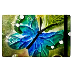 Blue Spotted Butterfly Art In Glass With White Spots Apple Ipad 2 Flip Case by Nexatart