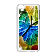 Blue Spotted Butterfly Art In Glass With White Spots Apple Ipod Touch 5 Case (white) by Nexatart