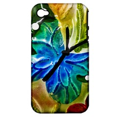 Blue Spotted Butterfly Art In Glass With White Spots Apple Iphone 4/4s Hardshell Case (pc+silicone)