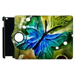Blue Spotted Butterfly Art In Glass With White Spots Apple Ipad 2 Flip 360 Case