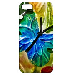 Blue Spotted Butterfly Art In Glass With White Spots Apple Iphone 5 Hardshell Case With Stand by Nexatart