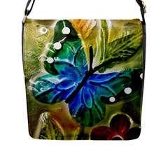Blue Spotted Butterfly Art In Glass With White Spots Flap Messenger Bag (l)