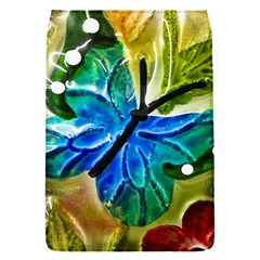 Blue Spotted Butterfly Art In Glass With White Spots Flap Covers (s)