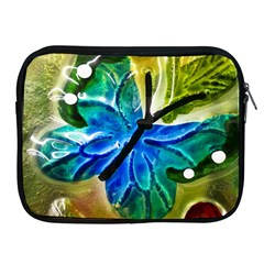 Blue Spotted Butterfly Art In Glass With White Spots Apple Ipad 2/3/4 Zipper Cases