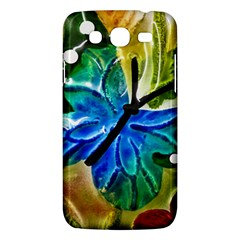 Blue Spotted Butterfly Art In Glass With White Spots Samsung Galaxy Mega 5 8 I9152 Hardshell Case  by Nexatart