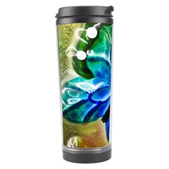 Blue Spotted Butterfly Art In Glass With White Spots Travel Tumbler by Nexatart