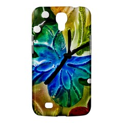 Blue Spotted Butterfly Art In Glass With White Spots Samsung Galaxy Mega 6 3  I9200 Hardshell Case