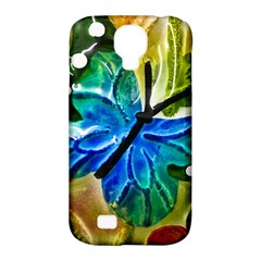 Blue Spotted Butterfly Art In Glass With White Spots Samsung Galaxy S4 Classic Hardshell Case (pc+silicone)
