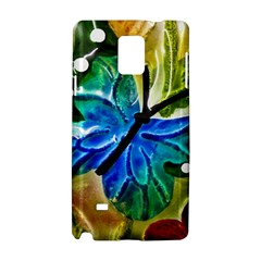 Blue Spotted Butterfly Art In Glass With White Spots Samsung Galaxy Note 4 Hardshell Case