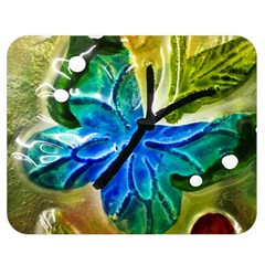 Blue Spotted Butterfly Art In Glass With White Spots Double Sided Flano Blanket (medium)