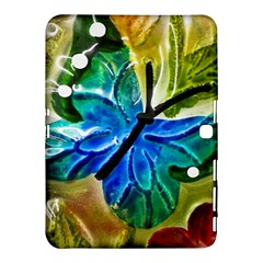 Blue Spotted Butterfly Art In Glass With White Spots Samsung Galaxy Tab 4 (10 1 ) Hardshell Case