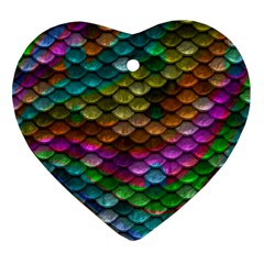 Fish Scales Pattern Background In Rainbow Colors Wallpaper Ornament (heart) by Nexatart