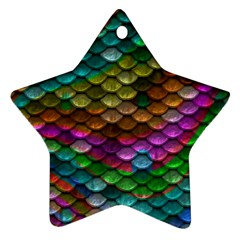 Fish Scales Pattern Background In Rainbow Colors Wallpaper Ornament (star) by Nexatart