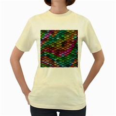 Fish Scales Pattern Background In Rainbow Colors Wallpaper Women s Yellow T Shirt