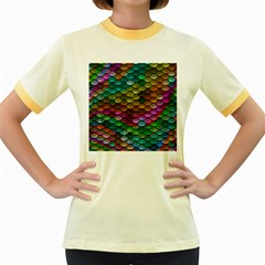 Fish Scales Pattern Background In Rainbow Colors Wallpaper Women s Fitted Ringer T Shirts