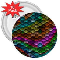 Fish Scales Pattern Background In Rainbow Colors Wallpaper 3  Buttons (10 Pack)  by Nexatart