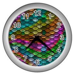 Fish Scales Pattern Background In Rainbow Colors Wallpaper Wall Clocks (silver)  by Nexatart