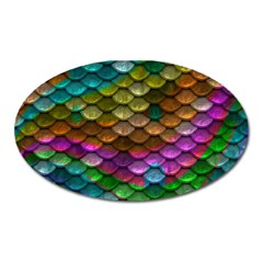 Fish Scales Pattern Background In Rainbow Colors Wallpaper Oval Magnet by Nexatart