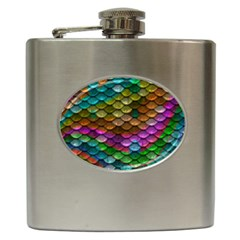 Fish Scales Pattern Background In Rainbow Colors Wallpaper Hip Flask (6 Oz)