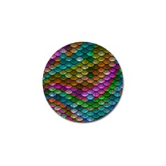 Fish Scales Pattern Background In Rainbow Colors Wallpaper Golf Ball Marker (4 Pack) by Nexatart