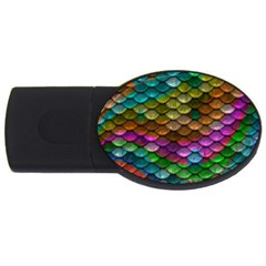 Fish Scales Pattern Background In Rainbow Colors Wallpaper Usb Flash Drive Oval (2 Gb)