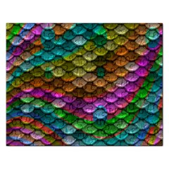 Fish Scales Pattern Background In Rainbow Colors Wallpaper Rectangular Jigsaw Puzzl