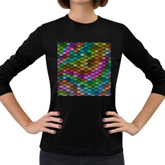Fish Scales Pattern Background In Rainbow Colors Wallpaper Women s Long Sleeve Dark T Shirts