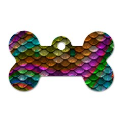 Fish Scales Pattern Background In Rainbow Colors Wallpaper Dog Tag Bone (two Sides) by Nexatart