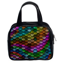 Fish Scales Pattern Background In Rainbow Colors Wallpaper Classic Handbags (2 Sides)