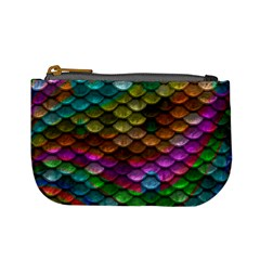 Fish Scales Pattern Background In Rainbow Colors Wallpaper Mini Coin Purses by Nexatart
