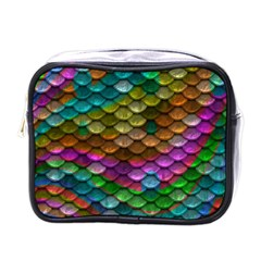 Fish Scales Pattern Background In Rainbow Colors Wallpaper Mini Toiletries Bags by Nexatart