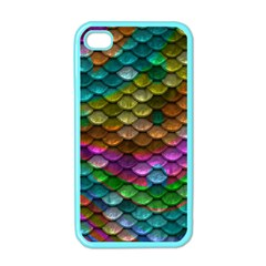 Fish Scales Pattern Background In Rainbow Colors Wallpaper Apple Iphone 4 Case (color)