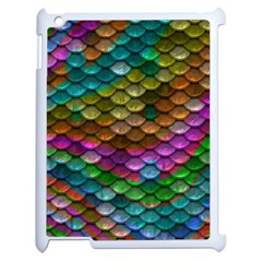 Fish Scales Pattern Background In Rainbow Colors Wallpaper Apple Ipad 2 Case (white) by Nexatart