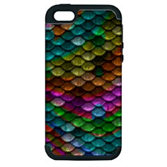 Fish Scales Pattern Background In Rainbow Colors Wallpaper Apple Iphone 5 Hardshell Case (pc+silicone)
