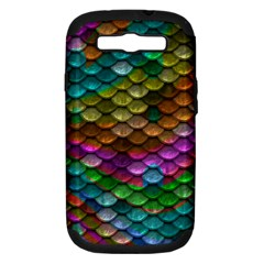 Fish Scales Pattern Background In Rainbow Colors Wallpaper Samsung Galaxy S Iii Hardshell Case (pc+silicone) by Nexatart