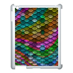 Fish Scales Pattern Background In Rainbow Colors Wallpaper Apple Ipad 3/4 Case (white) by Nexatart