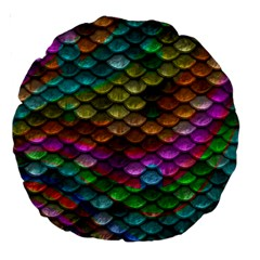 Fish Scales Pattern Background In Rainbow Colors Wallpaper Large 18  Premium Round Cushions