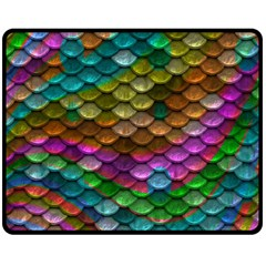 Fish Scales Pattern Background In Rainbow Colors Wallpaper Double Sided Fleece Blanket (Medium)