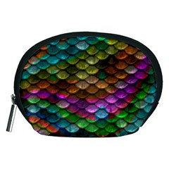 Fish Scales Pattern Background In Rainbow Colors Wallpaper Accessory Pouches (medium)  by Nexatart