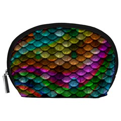 Fish Scales Pattern Background In Rainbow Colors Wallpaper Accessory Pouches (large)  by Nexatart