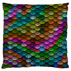 Fish Scales Pattern Background In Rainbow Colors Wallpaper Large Flano Cushion Case (two Sides)