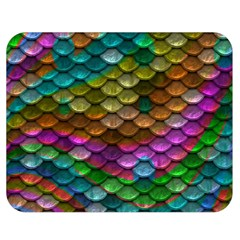 Fish Scales Pattern Background In Rainbow Colors Wallpaper Double Sided Flano Blanket (medium)  by Nexatart