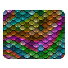 Fish Scales Pattern Background In Rainbow Colors Wallpaper Double Sided Flano Blanket (large)
