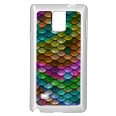 Fish Scales Pattern Background In Rainbow Colors Wallpaper Samsung Galaxy Note 4 Case (white) by Nexatart