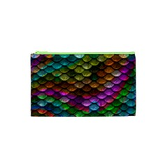 Fish Scales Pattern Background In Rainbow Colors Wallpaper Cosmetic Bag (xs) by Nexatart