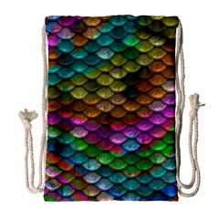 Fish Scales Pattern Background In Rainbow Colors Wallpaper Drawstring Bag (large) by Nexatart