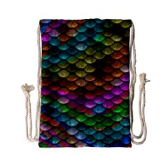 Fish Scales Pattern Background In Rainbow Colors Wallpaper Drawstring Bag (small) by Nexatart
