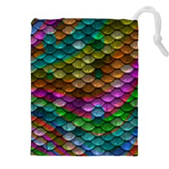 Fish Scales Pattern Background In Rainbow Colors Wallpaper Drawstring Pouches (xxl) by Nexatart