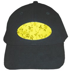 Flowery Yellow Fabric Black Cap by Nexatart
