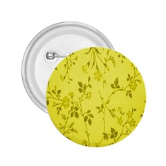 Flowery Yellow Fabric 2 25  Buttons by Nexatart